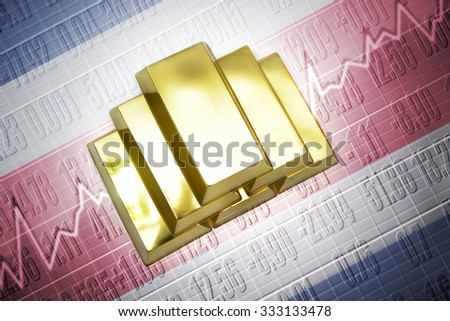 Shining golden bullions lie on a costa rica flag background
