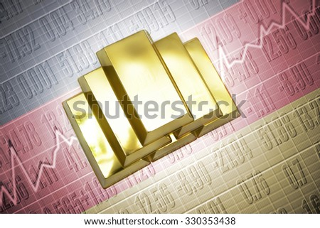 Shining golden bullions lie on a german flag background