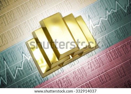 Shining golden bullions lie on a lithuanian flag background