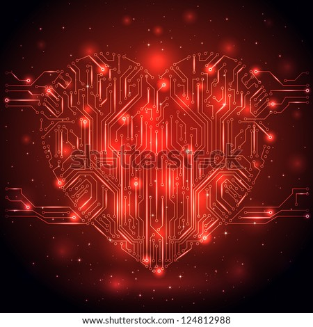 Shining Heart from a digital electronic circuit, illustration.