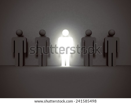 shining human icon. Stand out from the crowd and different concept 3d render illustration - stock photo