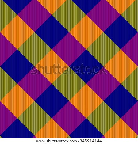Shining purple blue yellow green oblique checkerboard - digitally rendered fabric texture - stock photo