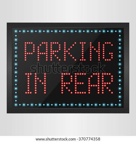 Shining retro light banner parking in rear on a black background