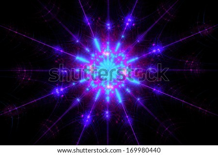 Shining sparkling snowflake fractal covered with frost - stock photo