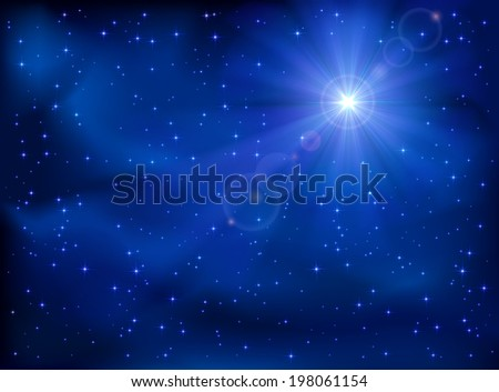 Shining star in the dark blue night sky, illustration. - stock photo