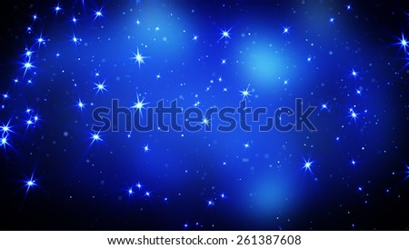 shining stars on blue. computer generated abstract background - stock photo