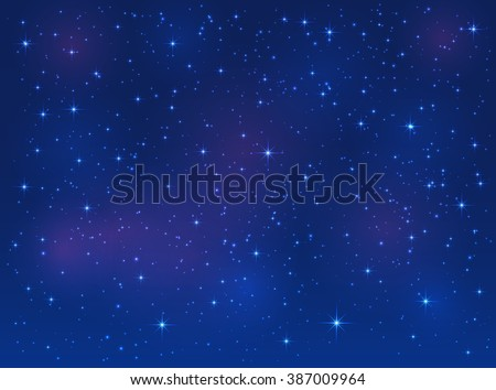 Shining stars on blue sky, space background, illustration. - stock photo