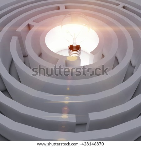 shining the light in the middle of the maze.3D illustration - stock photo
