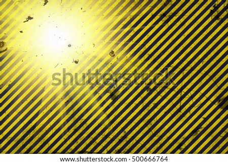 Shining warning black and yellow diagonal lines in grunge style - important announcement