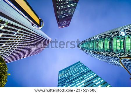 Shinjuku, Tokyo, Japan city skyline. - stock photo