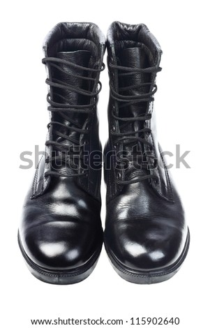 Shinning Black Leather Boots on White Background - stock photo