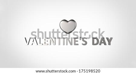 Shinny gray heart - stock photo