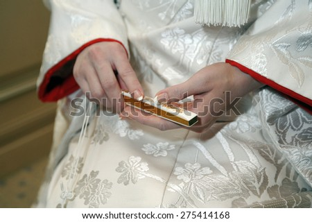 Shinto expression, is brilliant sense the hand of the bride - stock photo