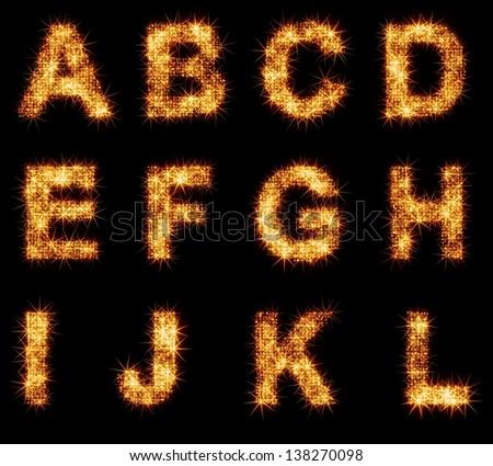 shiny alphabet 1/6 - stock photo