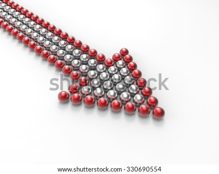 shiny arrow made of balls