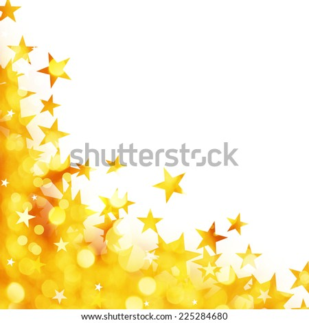 Shiny background of golden lights with stars isolated on white background - stock photo