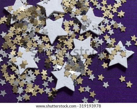 shiny background with stars, holiday decoration,  - stock photo