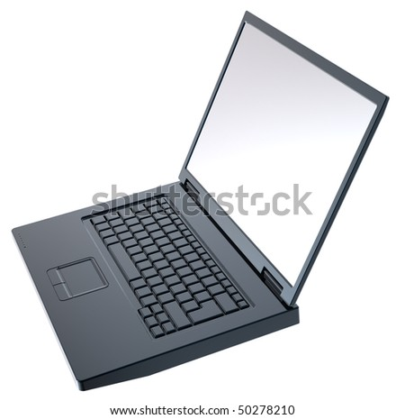 Shiny black laptop isolated on white. Computer generated 3D photo rendering.