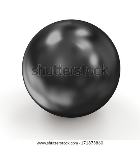 Shiny Black Pearl isolated on white background