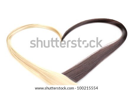 Shiny blond and brown hair isolated on white - stock photo