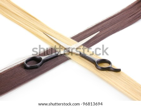 Shiny blond and brown hair with hair cutting shears isolated on white - stock photo