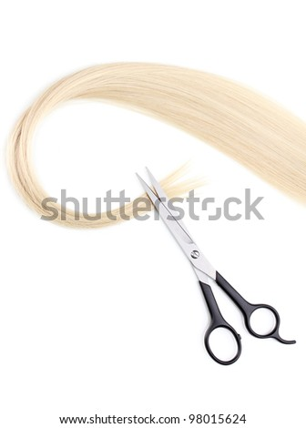 Shiny blond hair and hair cutting shears isolated on white - stock photo