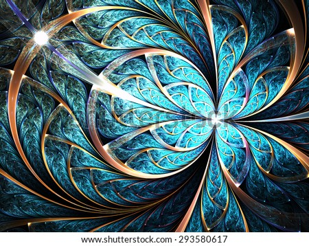 Shiny blue fractal flower or butterfly, digital artwork for creative graphic design