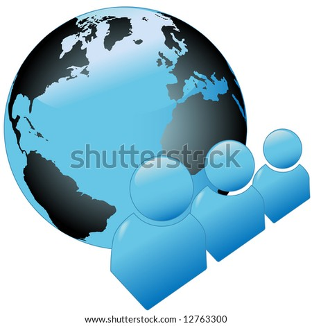 Shiny blue people of the world symbol icon set, with Atlantic globe of the earth.