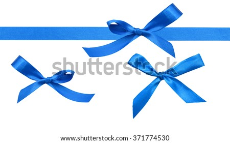Shiny blue ribbon with bow isolated on white - stock photo