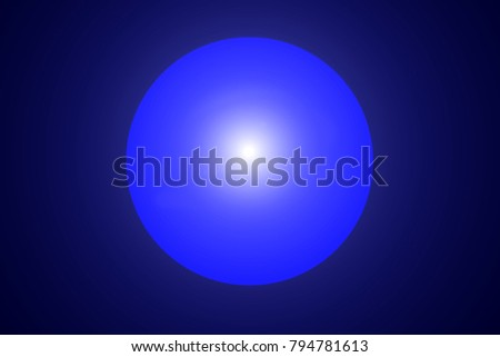 Shiny blurred neon glowing circle on blue background. Abstract illustration with glowing round lights. Background with shining flares