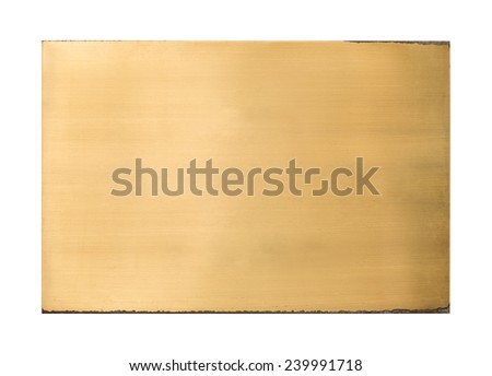 Shiny brass blank metal sign plate texture isolated on white background with clipping path - stock photo