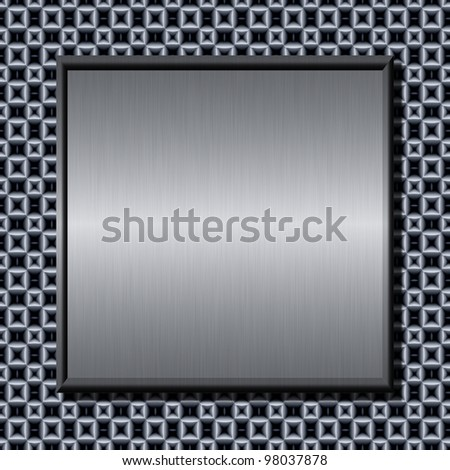 Shiny brushed metal plate against abstract background