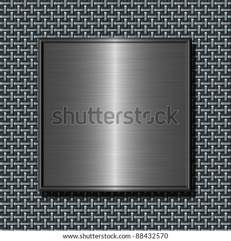 Shiny brushed metal plate against abstract steel net background