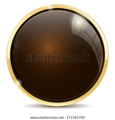 Shiny button brown . Isolated on white background. Raster version - stock photo