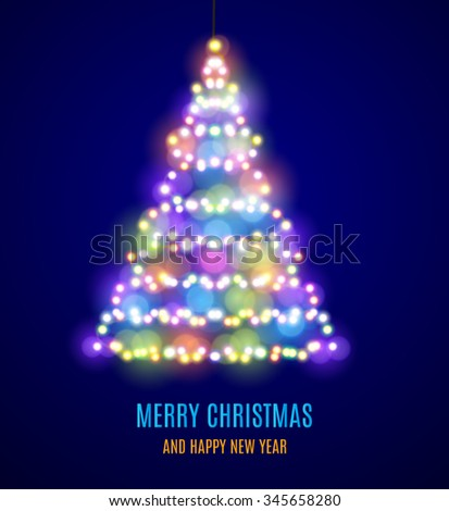 Shiny Christmas tree. Christmas tree from the garland. Glowing Lights - Colorful Fairy Lights Background. Christmas Lights Background. template design. illustration  Raster version. - stock photo