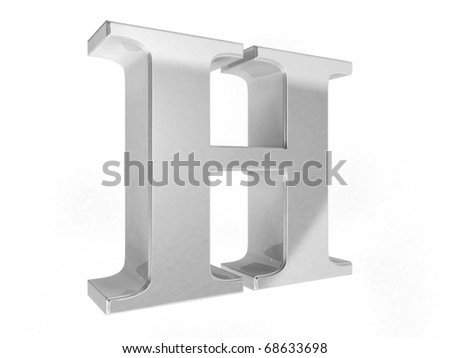 shiny chrome letter H on a white isolated background - 3d rendering - stock photo