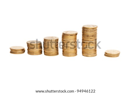 shiny coins isolated on white background