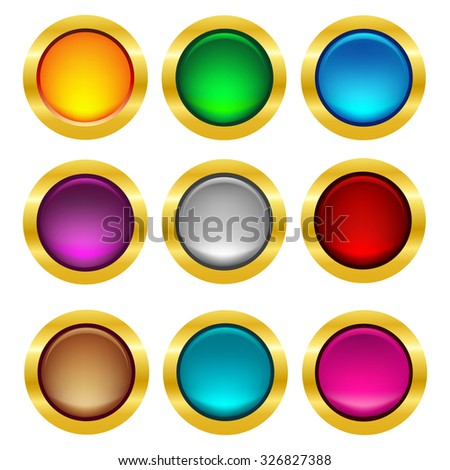 Shiny colorful web button collection with elegant gold frame - stock photo