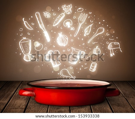 Shiny cooking icons coming out from cooking pot - stock photo