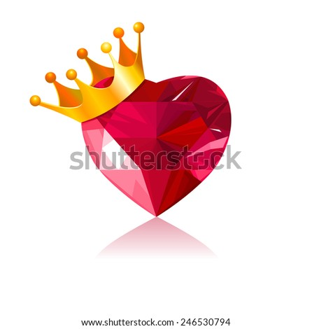Shiny crystal love heart with gold crown - stock photo