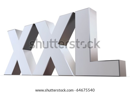 shiny 3d letters XXL made of silver/chrome - stock photo