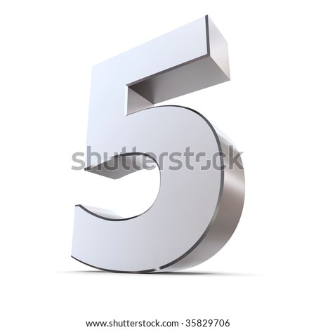 shiny 3d number 5 made of silver/chrome - stock photo