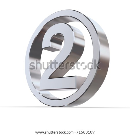 shiny 3d number 2 made of silver/chrome in a metallic circle - stock photo