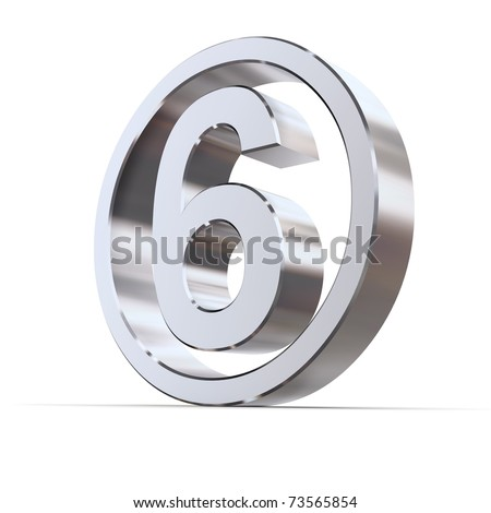 shiny 3d number 6 made of silver/chrome in a metallic circle