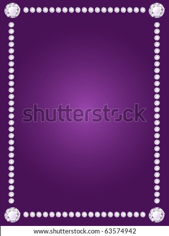 Shiny diamond frame on violet background