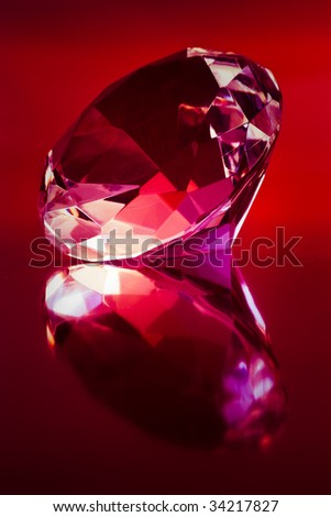 shiny diamond on dark red background