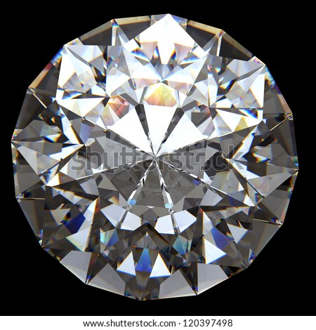 Shiny diamond on white background with clipping path - stock photo