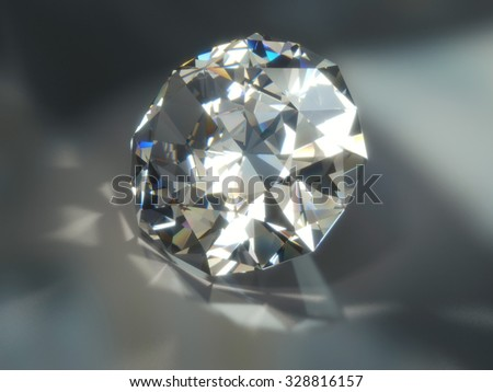Shiny Diamond With Caustic Light Rays. 3d rendering