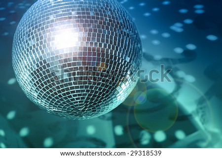 Shiny disco ball on night club close up - stock photo