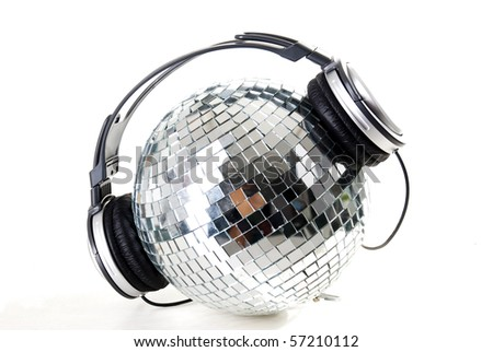 shiny disco ball with headphones